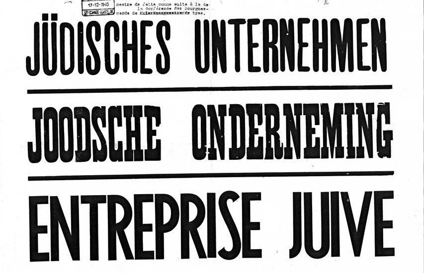 Het drietalige affiche 'Joodse onderneming' zoals het verspreid werd door de gemeenten van de agglomeratie Brussel. Jette, Gemeentearchief